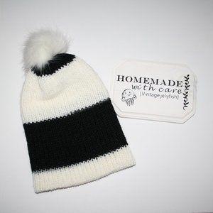 White and black alpaca Knit beanie hat Handmade NWT
